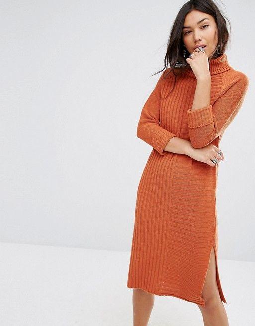Boohoo | Трикотажное платье‑джемпер с отворачивающимся воротником Boohoo