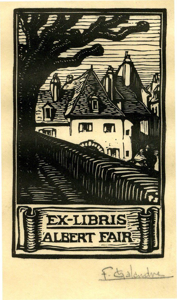 ≡ Bookplate Estate ≡ vintage ex libris labels︱artful book plates - Ex libris for Albert Fair by Fernand Chalandre, 1919