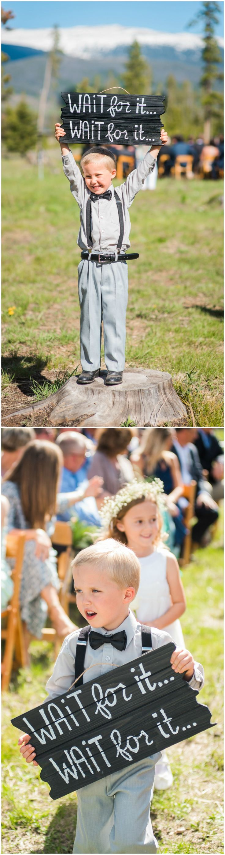 "Ring bearer, outdoor wedding ceremony, black bow tie, suspenders, black wooden sign, ""Wait for it... Wait for it..."" // Nate Messarra Photography"