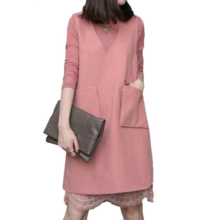Новый осень зима дамы кружева платья свободного покроя длинной шерсти платье 2 шт. женщин комплект Vestidos Большой размер розовый черный красный сексуальное платье купить на AliExpress