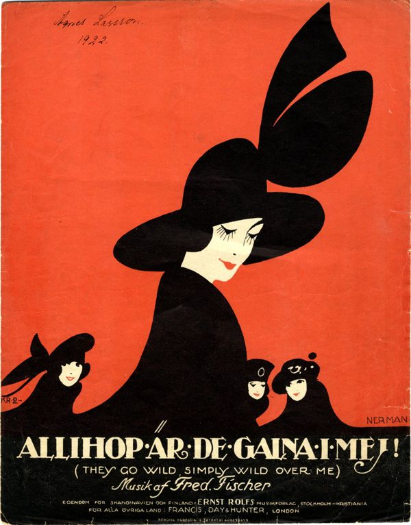 Illustrated Sheet Music Covers by Einar Nerman - 50 Watts. Einar Nerman, from the Images Musicales collection Allihop är de galna i mej! (They go Wild simply Wild over me), 1925
