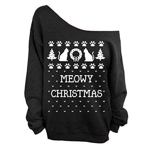Frauen-Damen Anker weg von der Schulter Maxi-Slouchy Sweatshirt Pullover Tops Blusen (Merry Christmas)