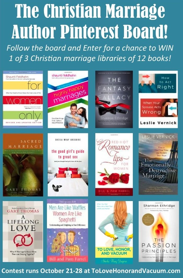 Follow the Christian Marriage Author Pinterest Board to win a library of Christian marriage books!