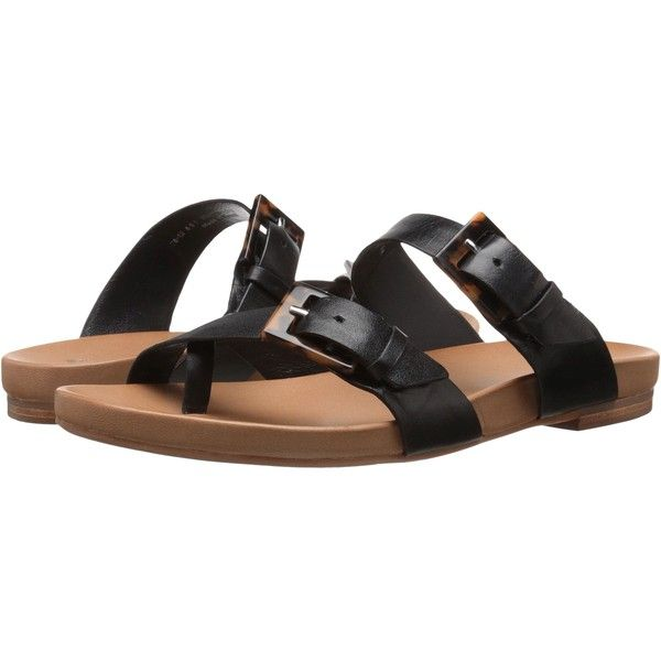 Johnston & Murphy Jill Buckle Thong (Black Glove Leather) Women's... (14950 RSD) ❤ liked on Polyvore featuring shoes, sandals, black, buckle sandals, leather sandals, black sandals, leather strappy sandals and black leather shoes