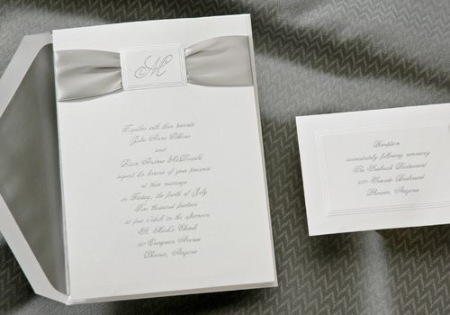 Single Initial Die-Cut with Silver Ribbon Wedding Invitations - Invitation Box