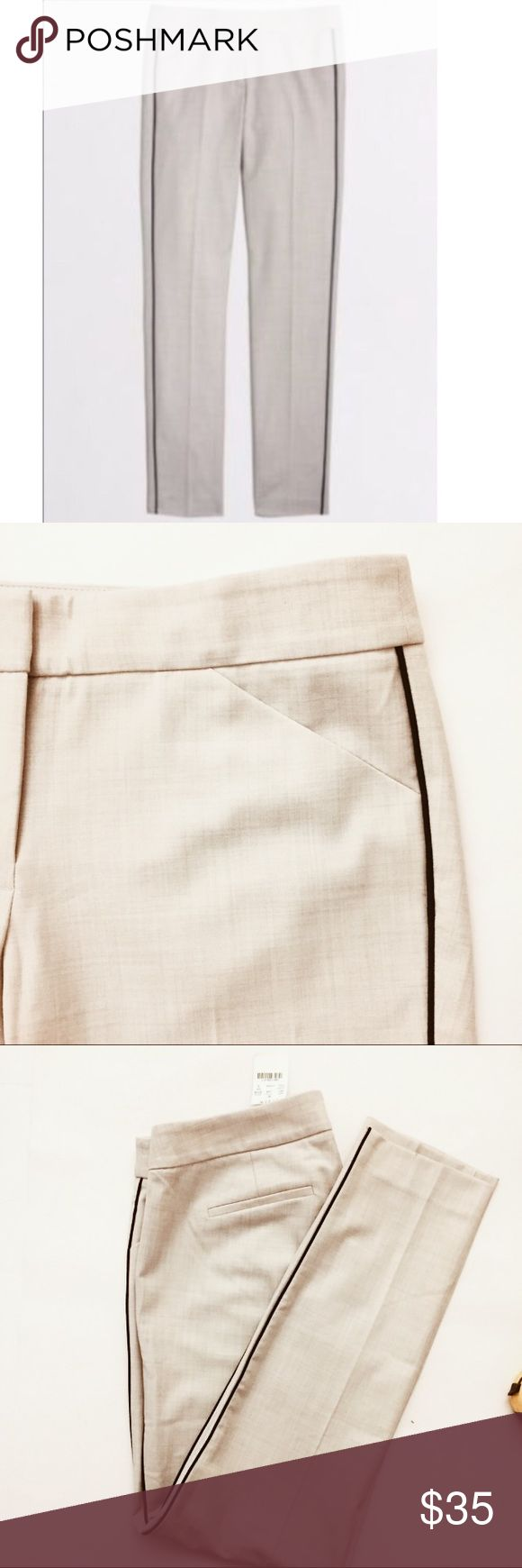 """J. Crew Stretch Tuxedo Stripe Pants Size 6, heather gray with black stripe, waist 32"""", inseam 29"""", front rise 10"""", leg opening 6"""", poly/wool stretch blend, light weight, new with tags. J. Crew Pants"""