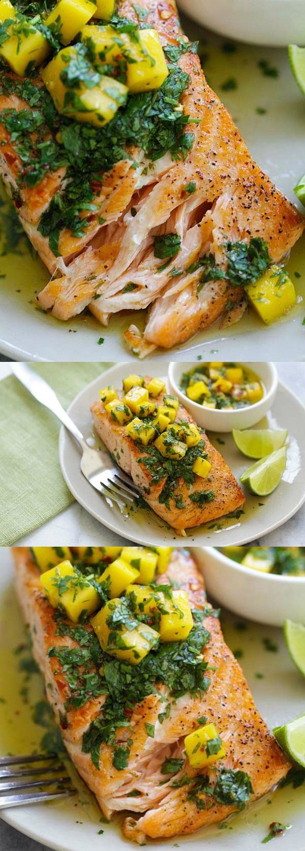 Chimichurri Salmon - the best chimichurri salmon recipe ever with mango. So easy, restaurant quality and perfect for dinner tonight | rasamalaysia.com