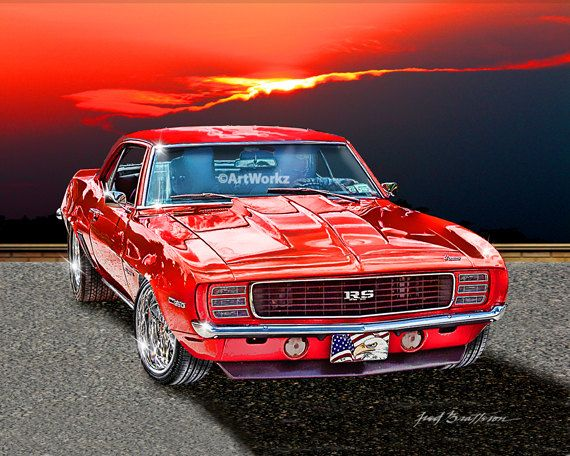 muscle car 1969 chevrolet camaro classic car print hot rod art 8x10 - Cars Pictures To Print