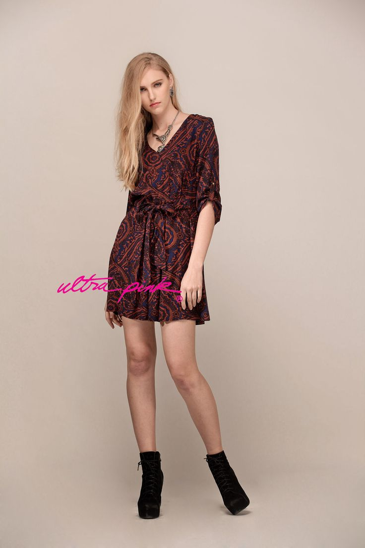 Ultrapink Rayon Medalion Printed Dress  V Neck with Tie, Roll Tab Sleeves  Check out on ultrapinkshop.com
