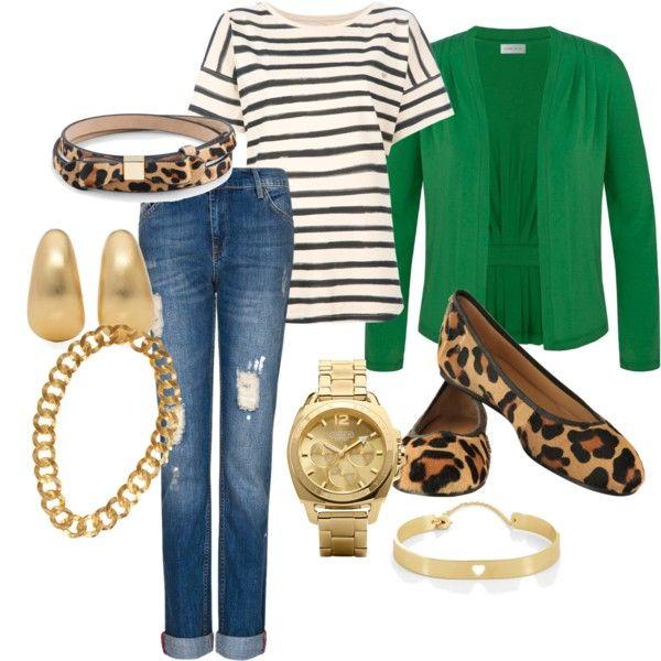 Jeans boyfriend, T-shirt raya marinera, chaqueta verde y complementos animal print.
