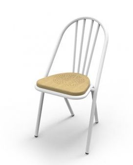 Surpil Chair - WHT/Lght Timber Seat, Dining Chairs
