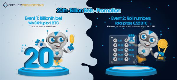 The 20 billionth bet will be played today, with 1.52 bitcoin ($20,449) in #prizes! Post your winning bets @ bitcointalk.org/index.php?topic=2557511.0 -- bitsler.com 😎