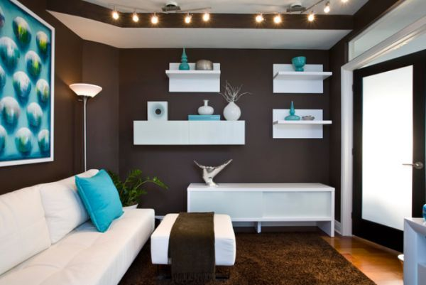 Turquoise and Brown Living Room | Decorate with small turquoise accessories for a big kick in your decor