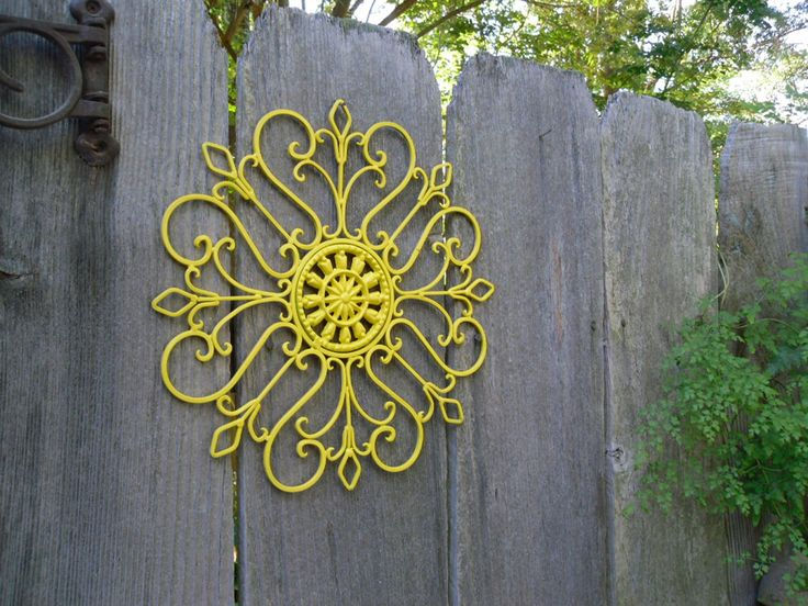 Metal Wall Decor, Bright Sunny Yellow Painted Wall Art, Patio Decor,  Wrought Iron
