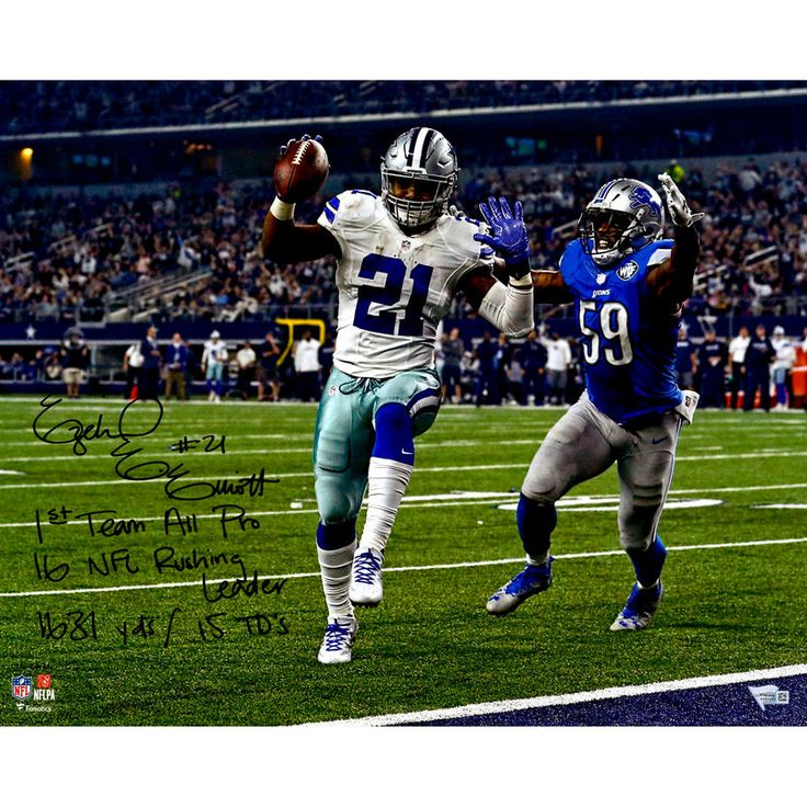 "Ezekiel Elliott Dallas Cowboys Fanatics Authentic Autographed 16"" x 20"" Touchdown Photograph with 2016 Season Stats Inscription - Limited Edition of 16"