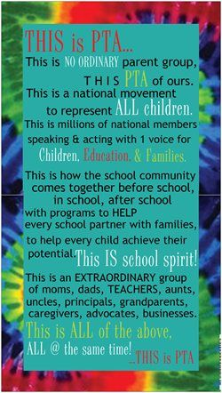 We took a postcard from National PTA  used the amazing text to create this small vinyl banner for the lobby of the school.  It matches other items that we had made to CHEER up the entry of our somewhat dull elementary school.  LOVE the declaration, love the colors, love the people in this building  wanted it to show.  Thanks Vistaprint for a great bargain!