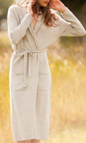 Luxury Long Cashmere Robe in Light Grey Melange