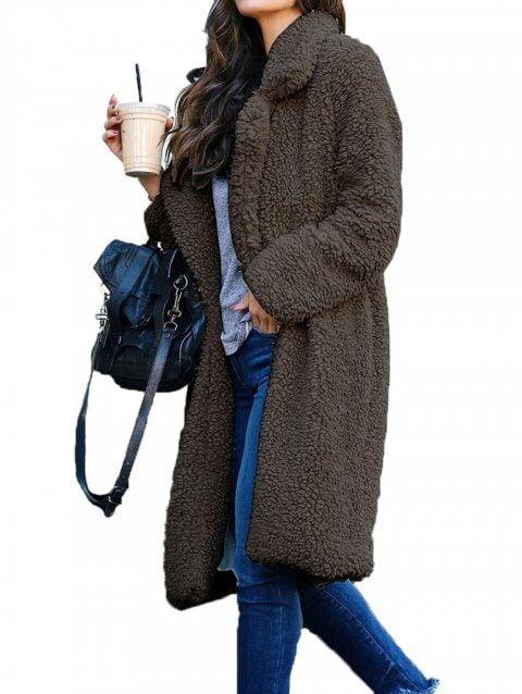96ec05cdc Womens Teddy Bear Pocket Fleece Jackets Lapel Coat Open Overcoat ...