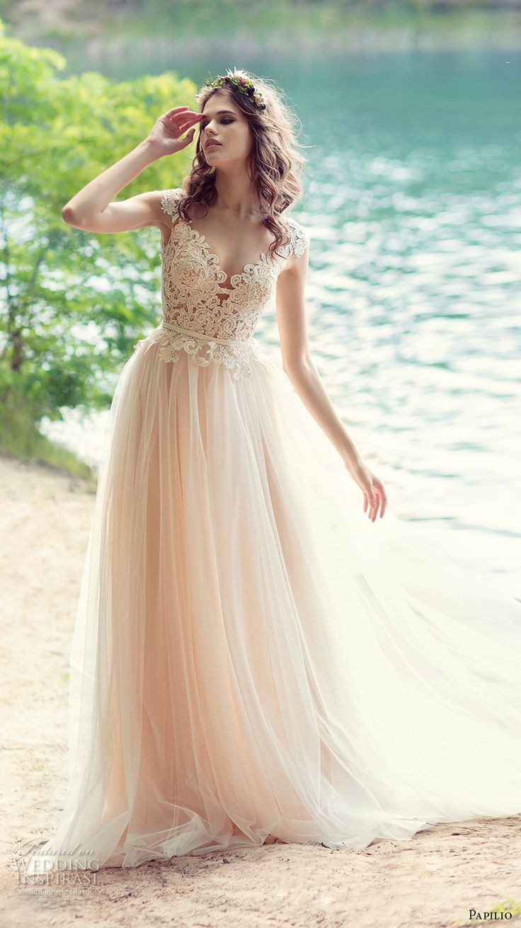 papilio 2017 bridal cap sleeves sweetheart neckline heavily embellished bodice tulle skirt romantic ivory color modified a  line wedding dress sheer back chapel train (iora) mv -- Papilio 2017 Wedding Dresses