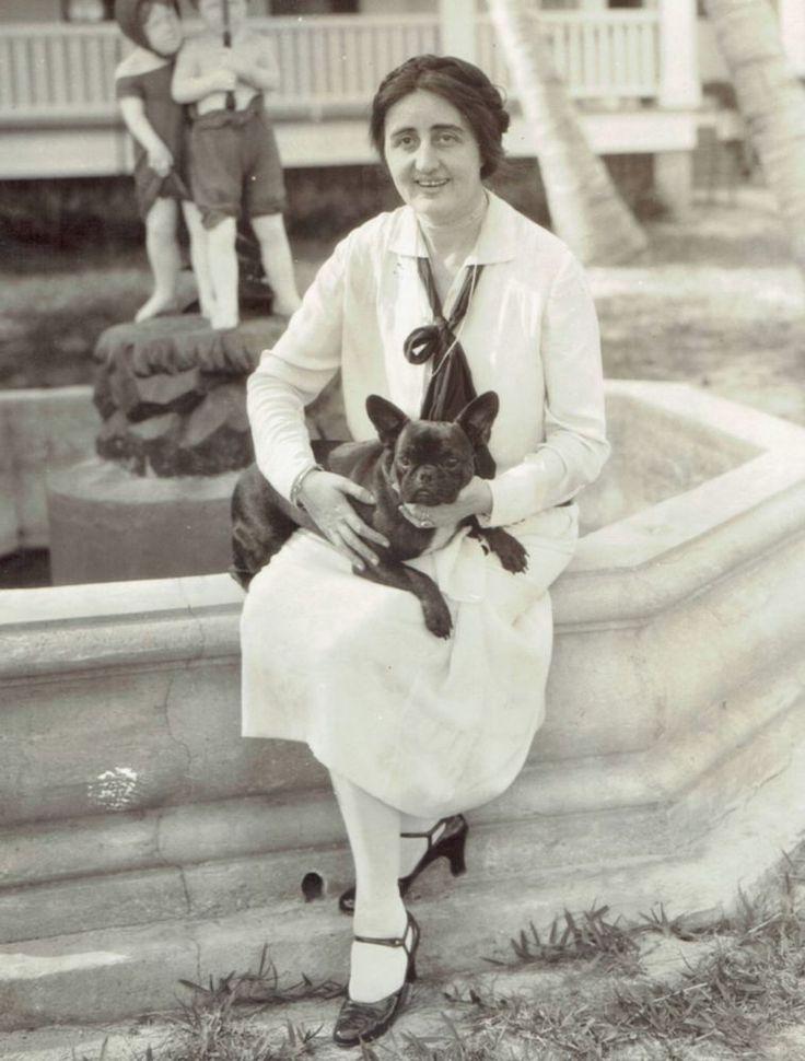 1926 Vintage Photo French Bulldog pet dog of Tammany Hall politician Mrs. Croker