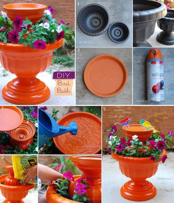 Make a beautiful Bird Bath by terracotta pot