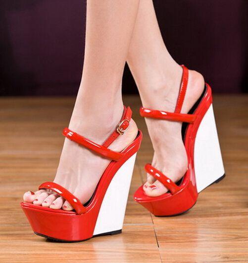 Di alta qualità di colori della caramella cuneo sandali tacco nero/rosso/verde patchwork pelle verniciata della piattaforma alti sandali tacco discoteca tacchi(China (Mainland))