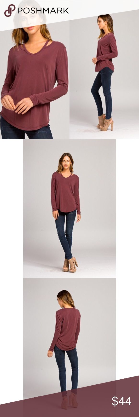 Burgundy Basic W/ Cutout Semi-loose fit, V-neck, long sleeve. Has cutout detail at sides of neck and rounded hens. Has a very soft velvety silk feel. Has good stretch. 73% modal 27% polyester. No trades. No lowball offers. Also available in charcoal. Tops