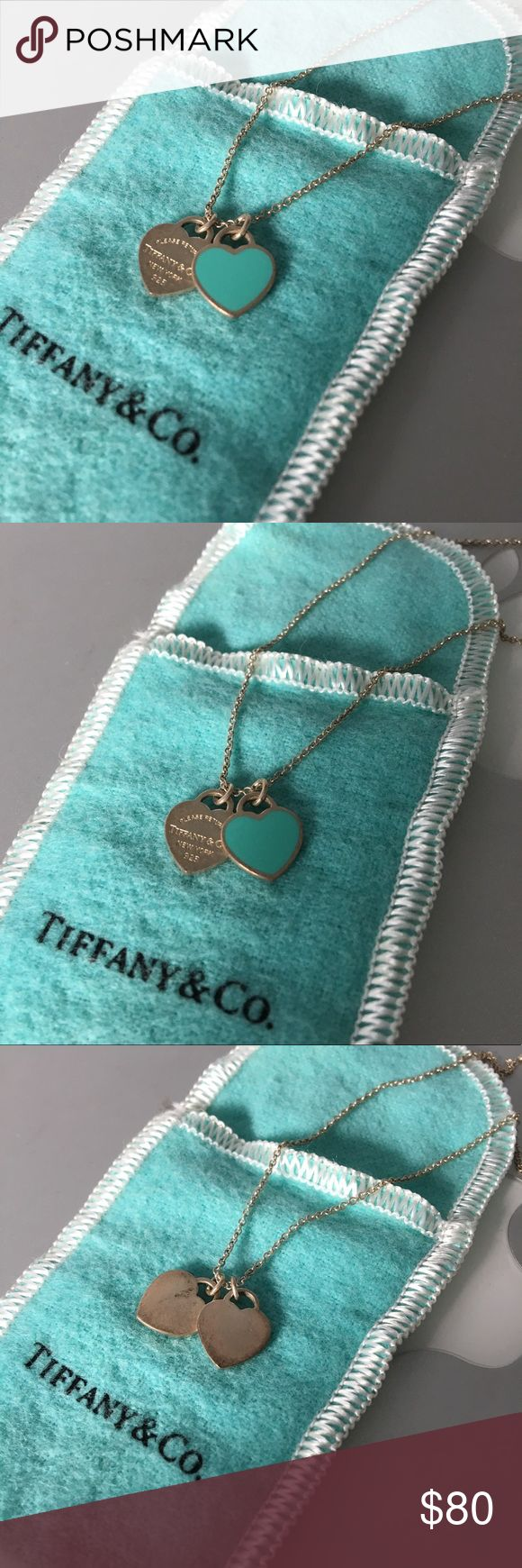 Authentic Tiffany & Co. Silver Heart Necklace Silver Tiffany hearts necklace. They are a little oxidized which you can see from the photos which is why they start to look brownish but if you take it to any Tiffany's store they will clean them for free for you and look good as new. I just have not had time to go. I am also selling them for cheaper through Mercari or Venmo! Tiffany & Co. Jewelry Necklaces