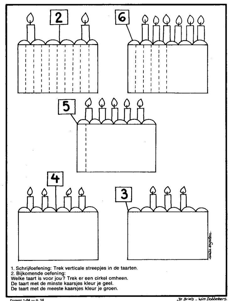 werkblad schrijfoefening taarten