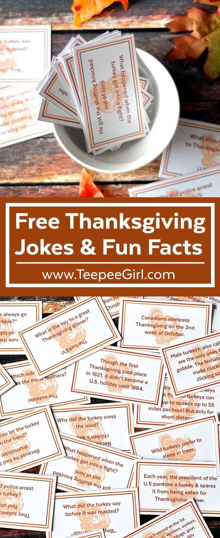 Use these free Thanksgiving Joke/Fun Fact cards to decorate tables, use as lunch box notes, Thanksgiving party decor, or just for fun! www.TeepeeGirl.com