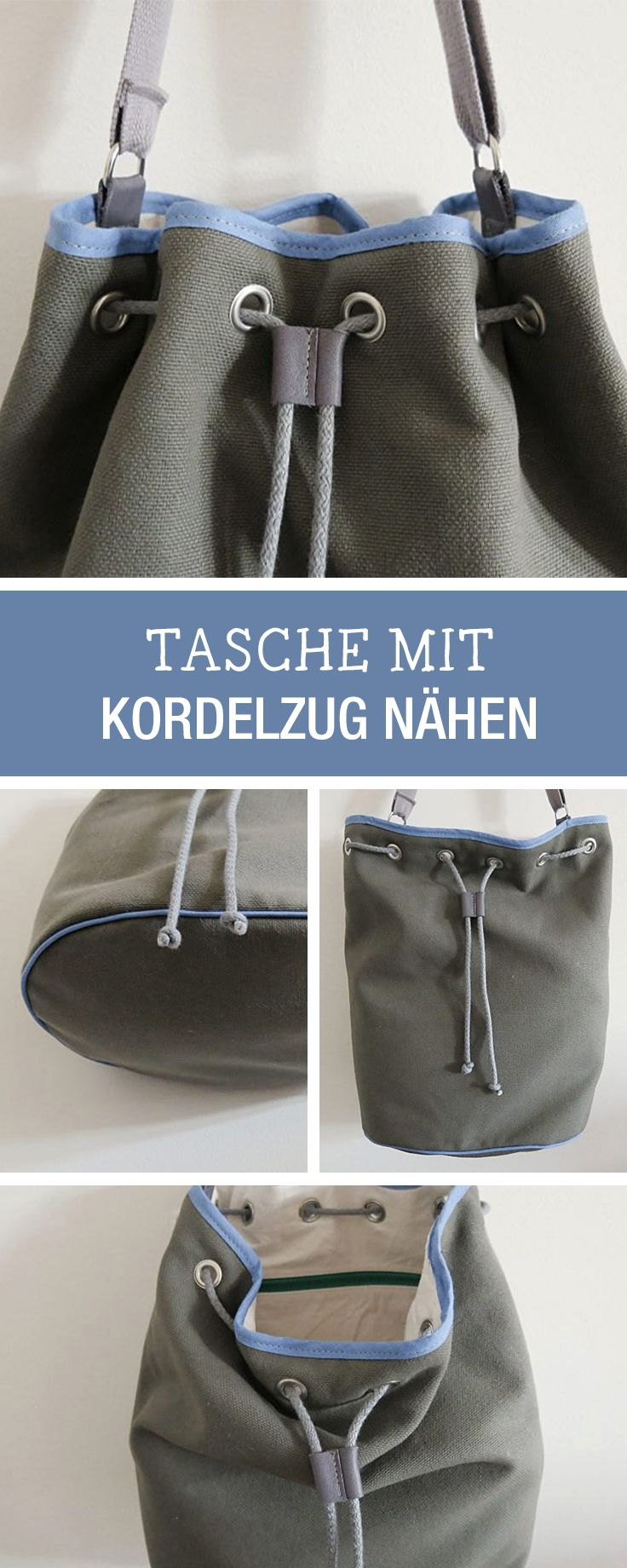"DIY-Nähanleitung für eine angesagte ""Bucket Bag"" Tasche / diy tutorial: sew your own bucket bag via DaWanda.com"