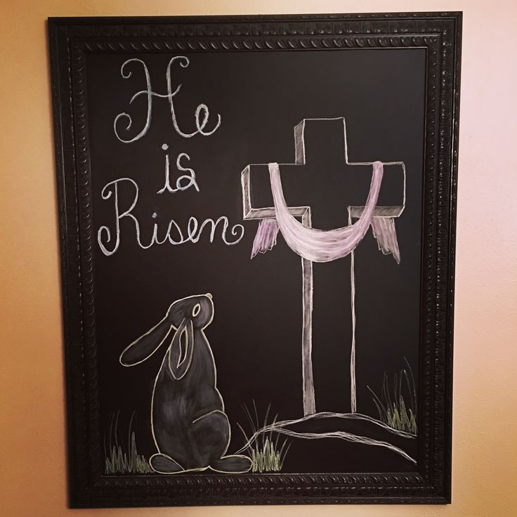 I covered the glass in a large piece of art with chalkboard contact paper just in time for some Easter Chalkboard art.