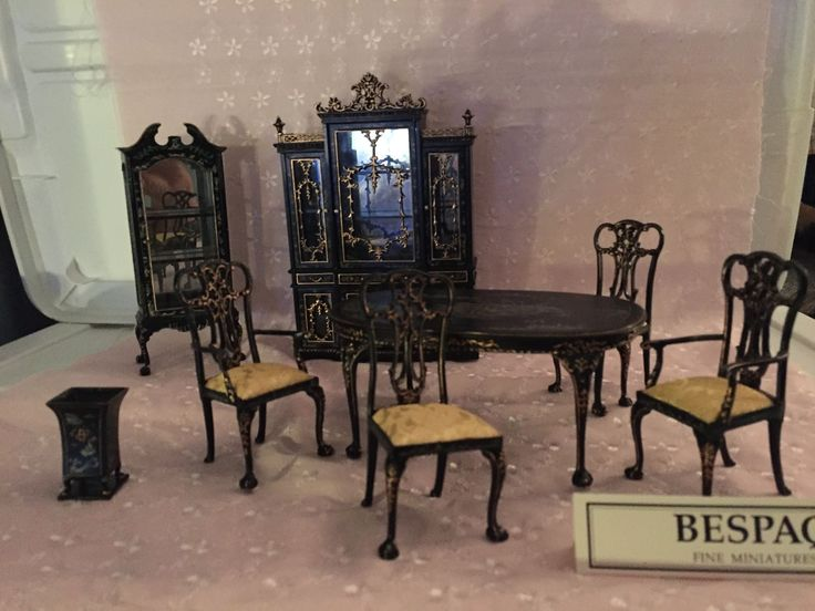 Doll House Bespaq 8 Pc Finest Quality Hand Painted Dining Set TOP OF BESPAQ LINE | eBay