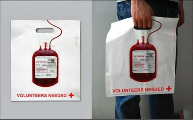 Funny bag - become a blood donor!