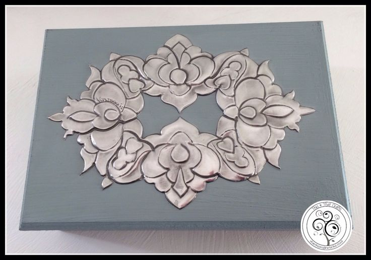 Pewter Design on Wooden Box