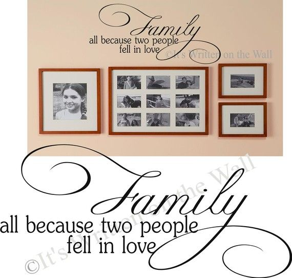 Family All because two people fell in love Vinyl Lettering Wall Saying on Etsy, $18.88