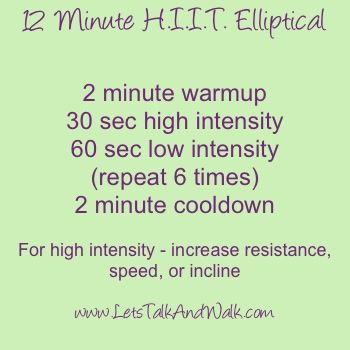 12 Minute HIIT Elliptical Workout...did this today and burned 200 calories in 20 min