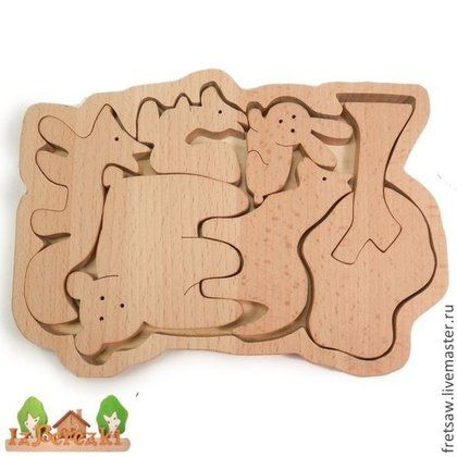 Лесные животные. Деревянный пазл. - Пазл,сортер,баоансир,пирамидка,дерево