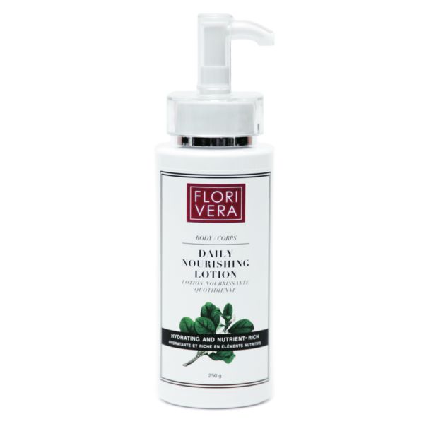 Florivera hydrating body lotion is infused with antioxidants from organic Pomegranate oil. Gentle enough for sensitive skin conditions. Made in Canada. 250g  Florivera.com