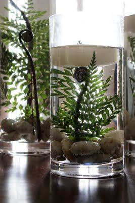 Submerged Ferns Centerpiece with Candles: Decor Ideas, Floating Candles, Floral Design, Candles Centerpieces, Simple Centerpieces, Blushes Floral, Ferns Centerpieces, Events Ideas, Submerged Ferns
