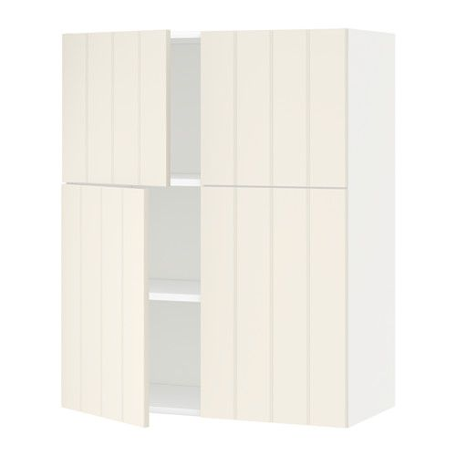 METOD Wall cabinet with shelves/4 doors, white, Hittarp off-white white Hittarp off-white 80x100 cm