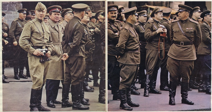 """Russian soldiers with Fed cameras (Soviet Leica copies). From The Sunday Times Magazine (UK) Dec 15 1968 - double page spread credited Philippe Le Tellier. The caption reads """".. sightseeing in Prague during their recent much - publicised visit"""" - an ironic reference to the Soviet invasion of Czechoslovakia which ended the 'Prague Spring'. The camera on the left is a Fed 2."""