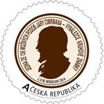 A round postage stamp issued by Česká pošta in honour of Czech national hero Jára Cimrman