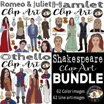 This bundled Shakespeare clip art set includes characters from the following plays: Romeo and Juliet A Midsummer Night's Dream Macbeth (set 1 only) Othello Hamlet Julius Caesar Included in this download are 62 color images and 62 line art images. Okay for