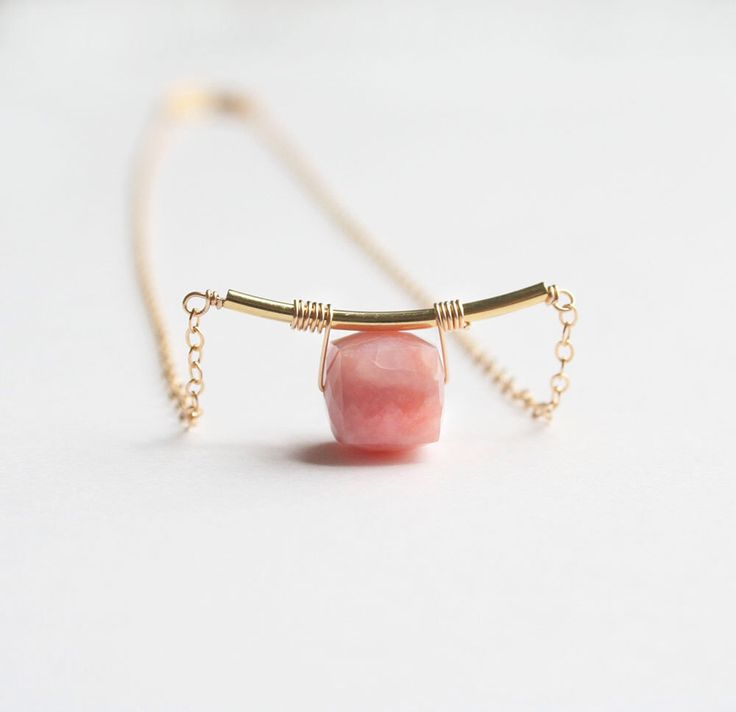 Pink Opal Necklace, Gemstone Jewelry by laurastark on Etsy https://www.etsy.com/uk/listing/232152774/pink-opal-necklace-gemstone-jewelry