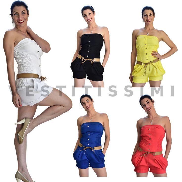 Overall tuta intera tutina donna vestitino pantaloncino shorts bandeau sexy Vs10