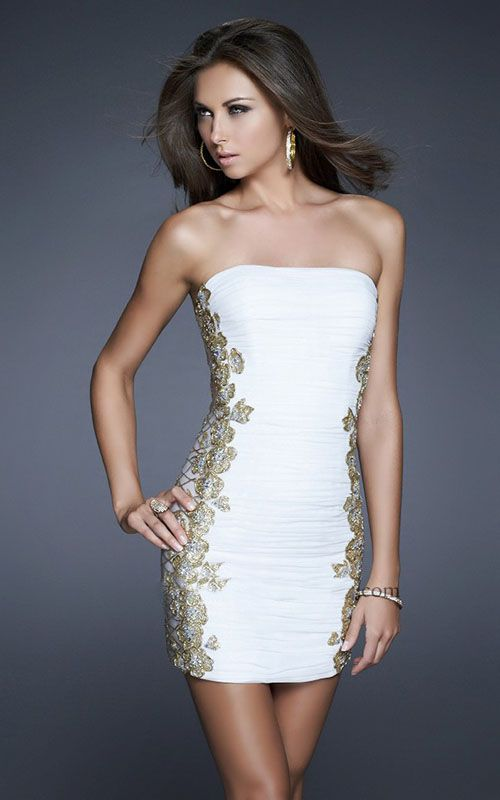 Tight Cocktail Dresses White and Gold