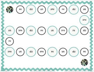 Prefixes and Suffixes Gameboard