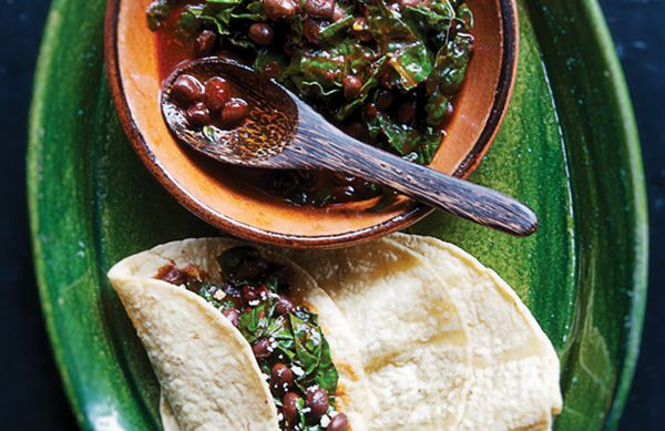 Greens and Beans with Red Chile and Fresh Cheese