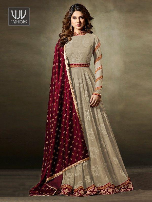 2b4798eb485c09 Jennifer Winget Beige Velvet Designer Anarkali Suit in 2019 | me ...